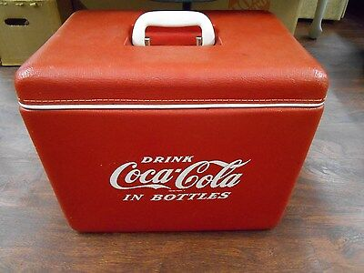 1960's Vinyl Covered Coca Cola Cooler with Side Mount Bottle Opener and Tray