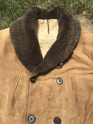 Vintage 30's 40's Canvas Sheepskin Lined Shawl Collar Barnstormer Coat Jacket