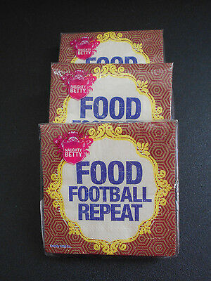Football  Cocktail Napkins Lot of 3 packs New Naughty Betty