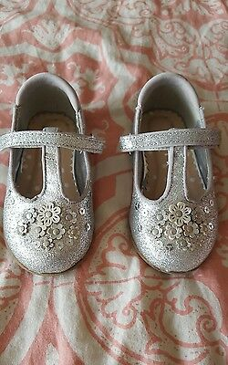 Silver sparkley velcro baby girl shoes size 5 infant