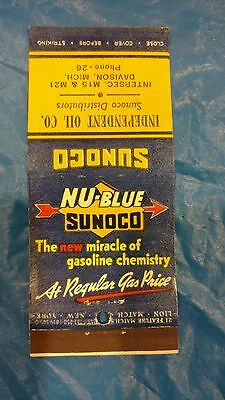 vintage  new blue Sunoco gas oil Davison Michigan matchbook