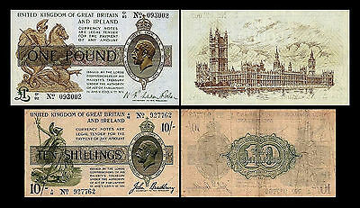 2x 10 Shillings + 1 Pound - Issue ND 1917 - 1918 George V - 4 Banknotes - 25
