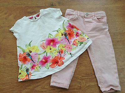 Ted Baker River Island Girls Small Summer Bundle / Outfit 12-18Mths Top Jeans