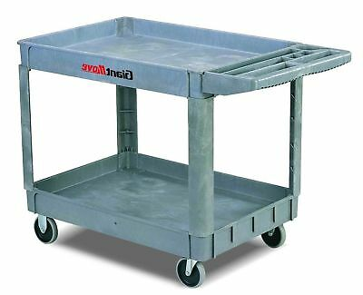Large Plastic Service Utility Cart 500 lbs Capacity Industrial Food Warehouse