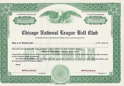 Chicago National League Ball Club Specimen Stock Certificate-Chicago Cubs-Rare!!