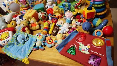 Bulk baby toys, rattles, musical cot items, pillow etc