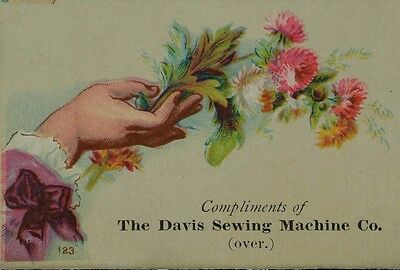 The Davis Sewing Machine Co. Lady's Hand Holding Wildflowers F79