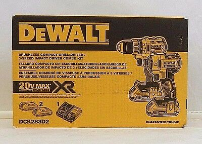Nib Dewalt Dck283D2 Brushless Compact Drill & 3 Speed Impact Driver Combo Kit