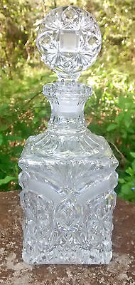 """Clear Cut Crystal Liquor Decanter w/Stopper 10.25""""H Square Base"""