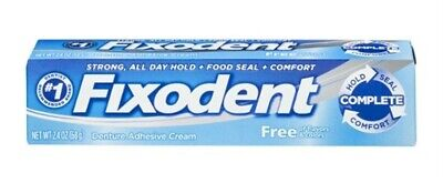 Fixodent Complete Free Denture Adhesive Cream 2.4 Oz (Pack Of 3)