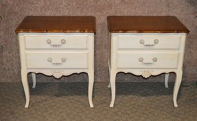 Vintage Pair of Ethan Allen Country French Nightstands w/Cherry Tops