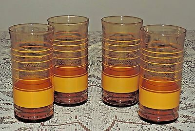 """Set of 4 Retro Libbey Glasses ~ 6"""" Tall Tumblers ~ Yellow Rings"""