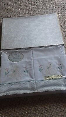 Vintage Pure Cotton Pillowcases and Bolster with emroidered Crinoline Ladies box