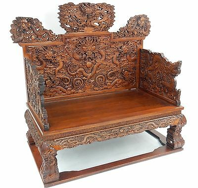 Intricately Carved Chinese Huanghuali Dragon Throne Chair.  57  inches