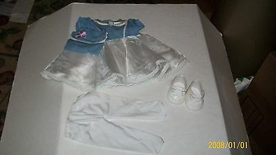 FITS CABBAGE PATCH KID DOLL CLOTHES TRU DOLLS blue/white dress set