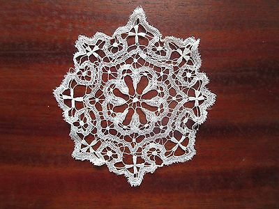 """Small Antique Lace Doily Hand Made Duchesse Brussels 5"""" Fine Bobbin Doll Collar"""