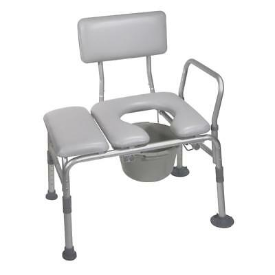 Handicapped Bath Seat Combination Padded Seat Transfer Bench Commode Opening NEW