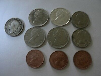 9 CANADIAN COINS ( 5 quarters (4 at 50% 1 at 80%silver)2 5 cts at 50% and 2 cts