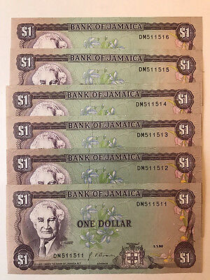 Jamaica $ 1 Dollar 5  Note Series Unc. And  2 Repeaters 1990