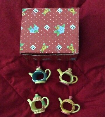 TIME FOR TEA Mary Engelbreit 4 Yellow Teapot Napkin Holders