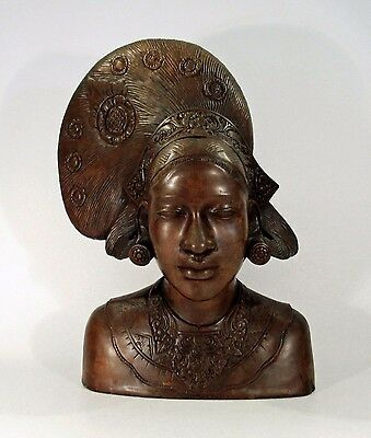 Museum Quality Antique Hand Carved Balinese Wood Legong Dancer Bust - Indonesian