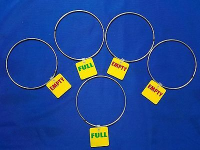"""5 Empty / Full Tags rings marker Gas Cylinder Reversible welding tanks 5"""" USA"""