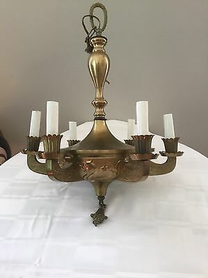 Antique Vintage Brass Serpent Dragon Chandelier Pan Ceiling Fixture 6 Light