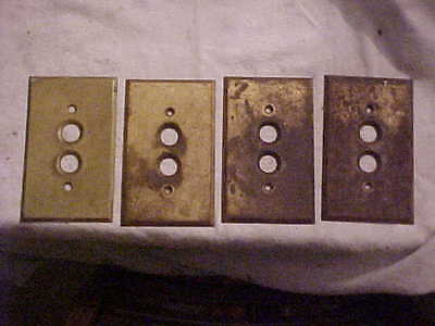 4 Antique Vintage Brass Single Push Button Switch Gang Plates Old Patina