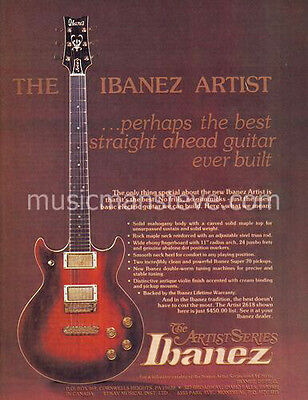 IBANEZ ARTIST GUITAR AD 1976 shows double cutaway solid body Artist electric
