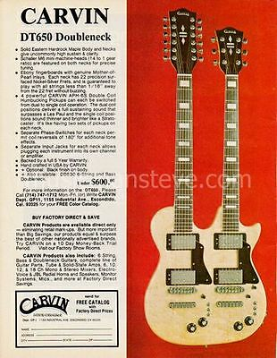 CARVIN DT650 DOUBLENECK GUITAR AD 1978 - six and twelve string solid body