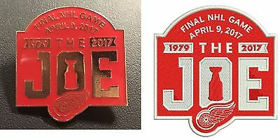 """Detroit Red Wings Pin Patch Set """"the Joe""""  April 9Th Final Nhl Game Stanley Cup"""