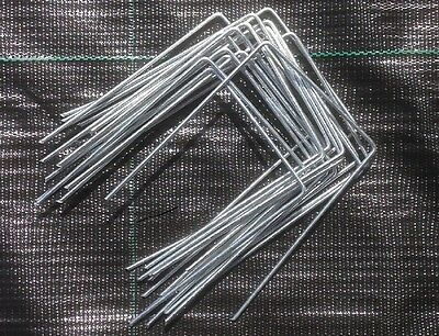 50 x STEEL GALVANIZED METAL GROUND COVER PEGS MEMBRANE ANCHOR STAPLES / PINS