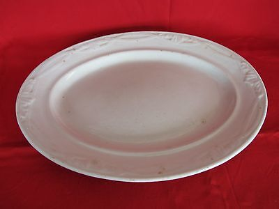 "Livesley Powell White English Ironstone Leaf Cross Ribbon 13 ¾"" Platter"