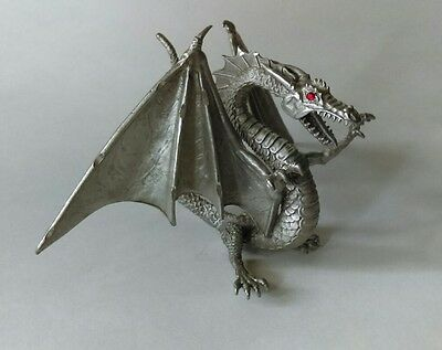 Vintage Pewter Dragon Statue Figurine With Red Gem Eyes Mythical Fantasy