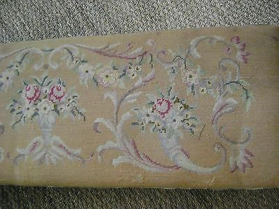 Large Needlepoint Long Stool Or Low Bench-Floral With Goldish Background!