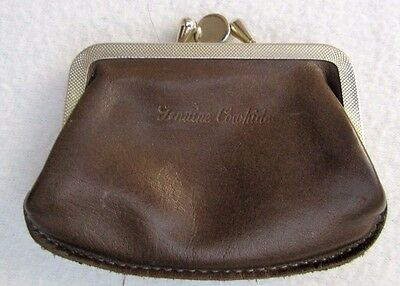 Vintage Brown Genuine Cowhide Kiss Lock COIN PURSE Two Compartments
