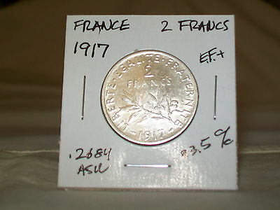 France 1917  Silver  2 Francs   Xf Coin  83.5% Silver  No.2