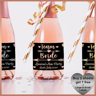 * 4 Personalised BRIDE TRIBE Hen Party CHAMPAGNE / WINE LABELS - Hen Night Do