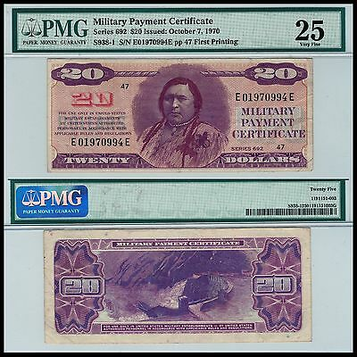 Series 692 $20 Military Payment Certificate PMG 25 VF - HIGH EYE APPEAL  US MPC