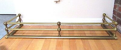 """Big 42"""" Vintage Brass Fireplace Fender Hearth Fence Cannonball Country"""