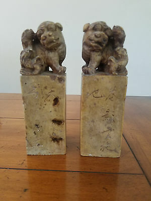 Antique Chinese Foo Dog Lion Carved Soapstone Ink Stamp Chop Seal Pair Bookends