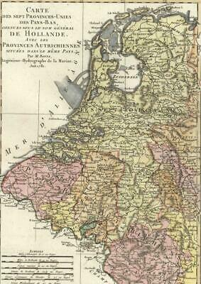 Netherlands Belgium Holland Flanders Northern France c1780 antique handcolor map