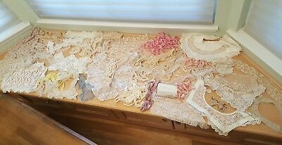 Lot of vintage LACE trims. collars CROCHETED and more.  45 pieces!