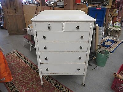 Vintage Simmons Metal Dresser 6 Drawers, Chest Of Drawers 1939 Pre War Furniture