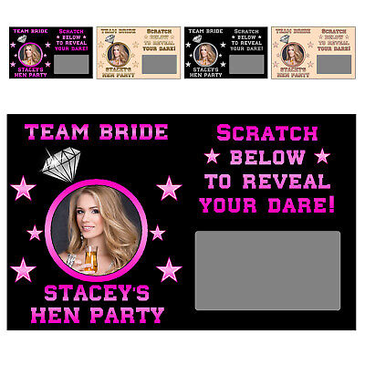 10 x Personalised TEAM BRIDE DARE Photo SCRATCH CARDS Hen Night Do Party Game