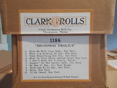 "CLARK Nickelodeon Music Roll  #1186 ""BROADWAY FROLICS"" -  #A206"