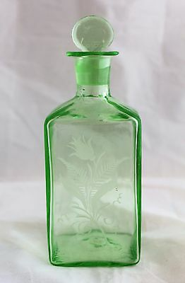 Antique Cologne Perfume Bottle Green Hand Blow Glass Engraved Flowers