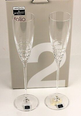 Waterford Crystal Folio Champagne Glasses Set of 2. New in Original Box