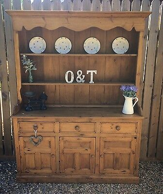 Traditional Solid Antique Pine Farmhouse Welsh Dresser / Country Kitchen