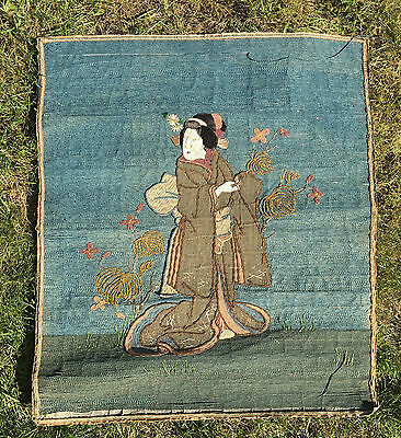 Antique Japanese Edo Wall Hanging Of Courtesan Lined With Contemporary Newspaper